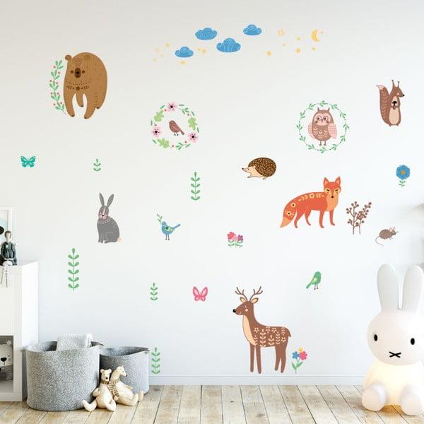 Sada nástenných detských samolepiek Ambiance Scandinavian Animals of The Forest