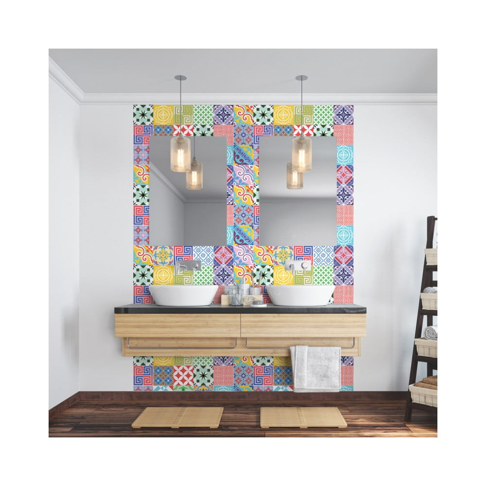 Sada 24 nástenných samolepiek Ambiance Wall Decal Cement Tiles Azulejos Emilifia, 10 × 10 cm