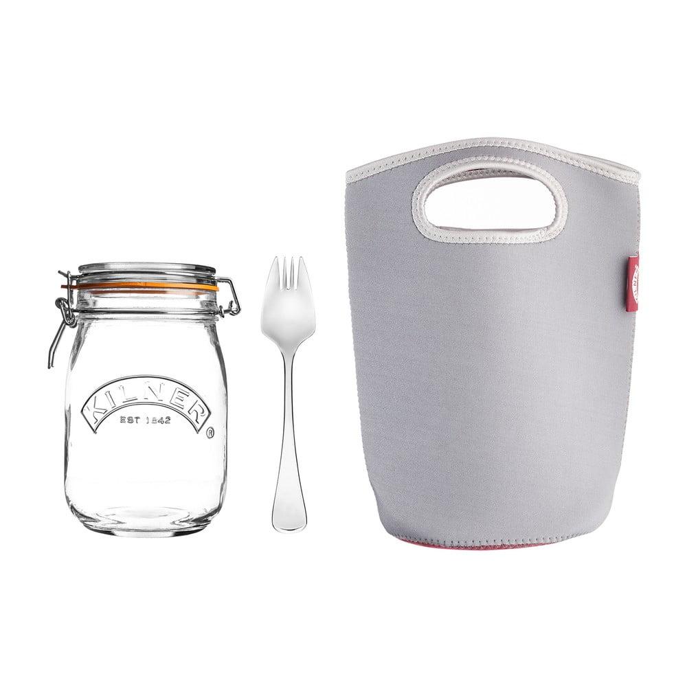 Set cestovný pohár s klipom, vidličky a tašky Kilner, veľký