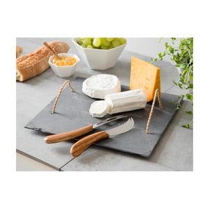 Bridlicová doštička s nožmi na syry Slate, 32x32 cm