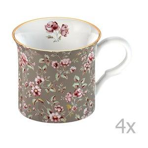 Sada 4 hrnčekov Katie Alice Ditsy Flower 250 ml, sivé kvety