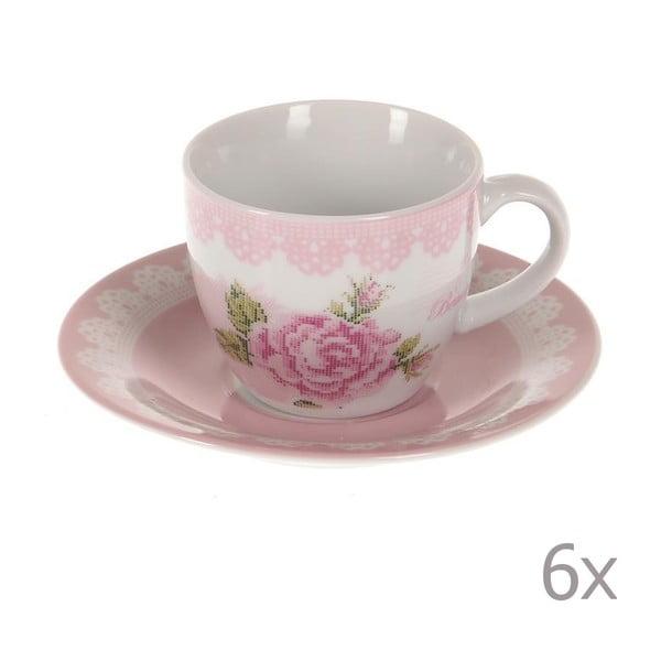 Sada 6 šálok na kávu Pink Roses