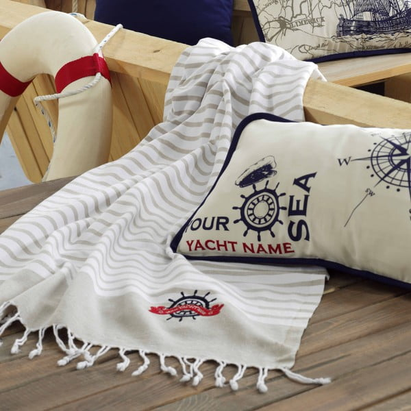 Plážová osuška Marine Organic White Beige, 100x170 cm