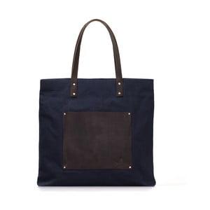 Modro-čierna kožená vintage maxi taška O My Bag Lou's