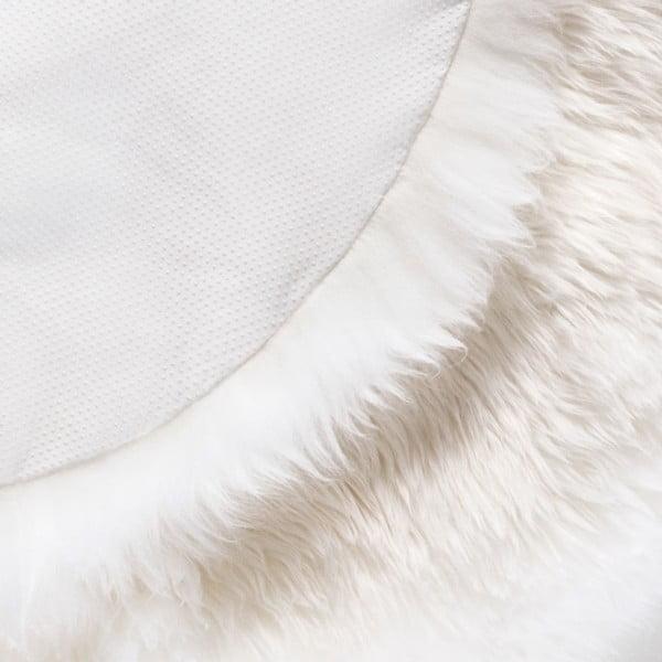 Biely koberec z ovčej kožušiny Royal Dream Zealand, Ø70 cm