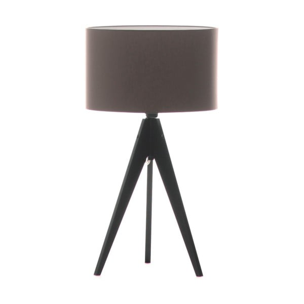 Hnedá stolová lampa 4room Artist, čierna lakovaná breza, Ø 33 cm