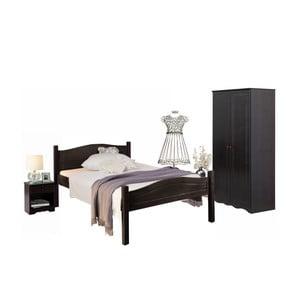 Tmavohnedý 3dielny jednolôžkový posteľný set z borovicového dreva Støraa Bangor
