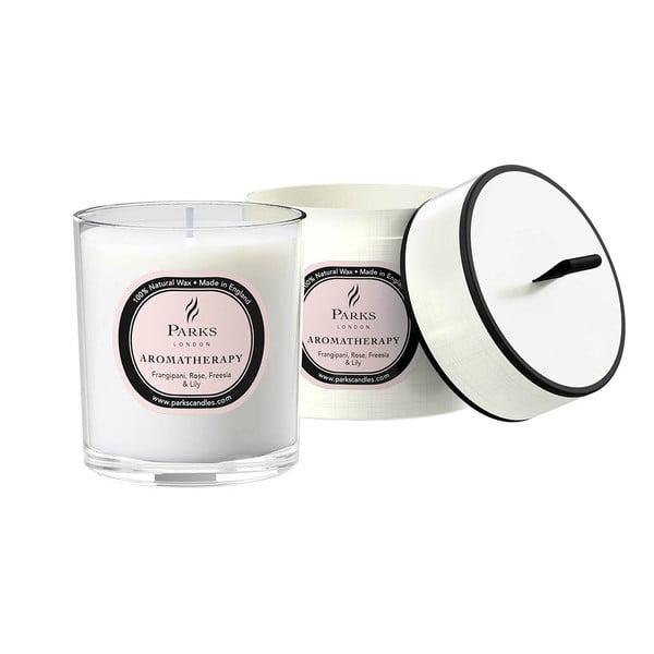Sviečka s vôňou plumérie, ruže, frézie a ľalie Parks Candles London Aromatherapy, 50hodín horenia