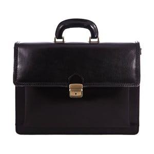 Čierna kožená taška Chicca Borse Ciryl