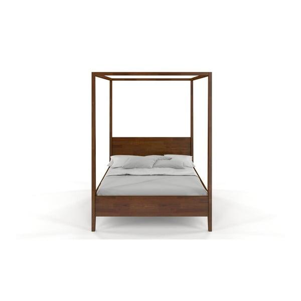 Dvojlôžková posteľ z masívneho borovicového dreva SKANDICA Canopy Dark, 200 x 200 cm
