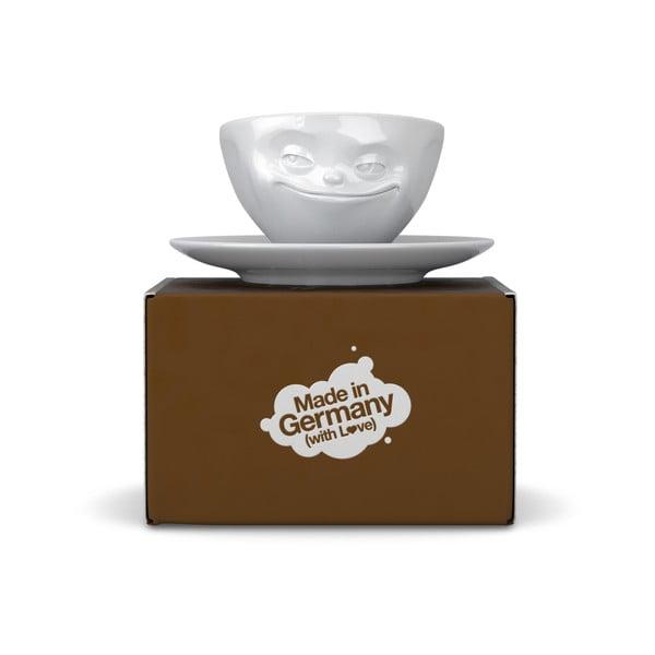 Biely usmievavý porcelánový hrnček na kávu 58products, objem 200 ml