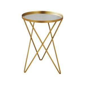 Odkladací stolík v zlatej farbe so sklenenou doskou Native Round, ⌀38 cm