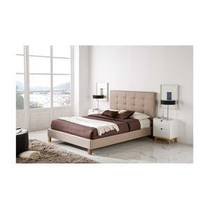 Béžová posteľ SOB Linea, 140x200cm