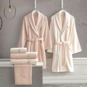 Set 2 bavlnených županov a 4 uterákov z edície Marie Claire Aida