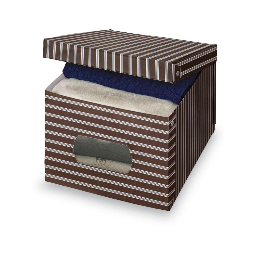 Hnedo-sivý úložný box Domopak Living, 31 × 50 cm