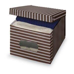 Hnedo-sivý úložný box Domopak Living, 31x50cm