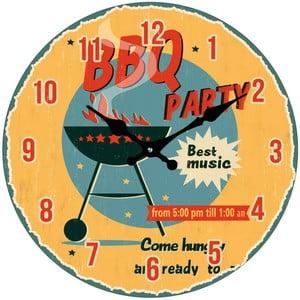 Sklenené hodiny BBQ Party, 34 cm