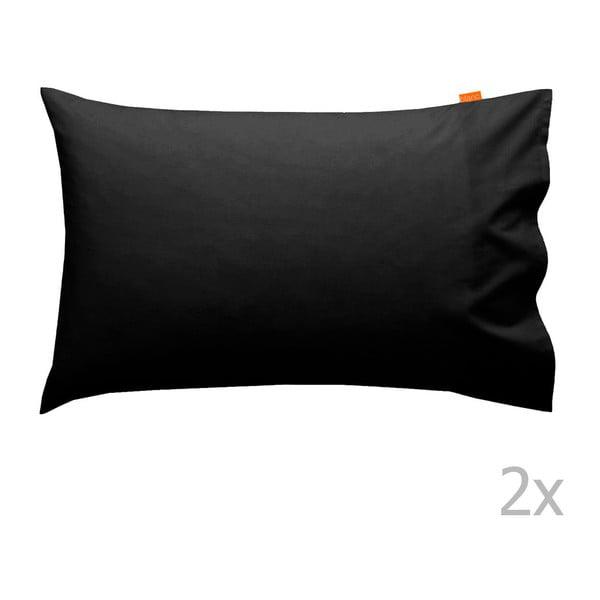Sada 2 čiernych obliečok na vankúš HF Living Basic, 50x80cm