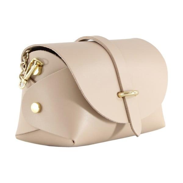 Púdrová kožená listová kabelka Chicca Borse Loira
