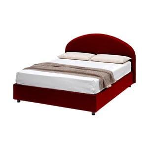 Červená dvojlôžková posteľ s úložným priestorom a poťahom z koženky 13Casa Giotto, 160 x 190 cm