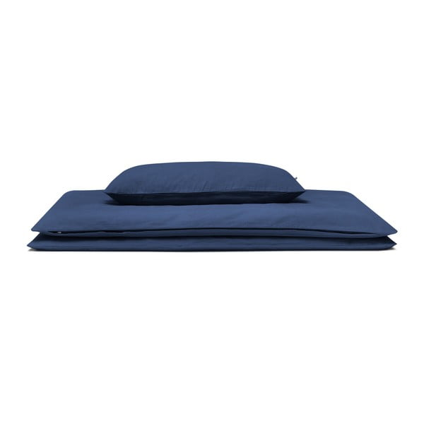 Tmavomodré bavlnené posteľné obliečky Mumla, 140×200 cm