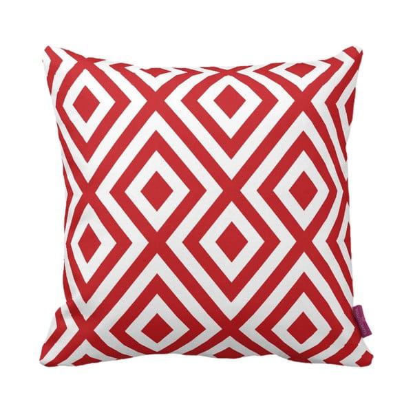 Červeno-biely vankúš Geometric Red, 43×43cm