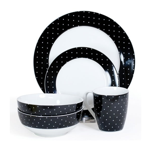 Porcelánový set Twinkle Black, 16 ks