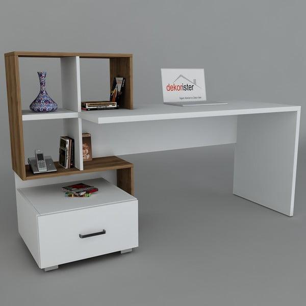 Pracovný stôl Bloom White/Walnut, 60x120x73,8 cm