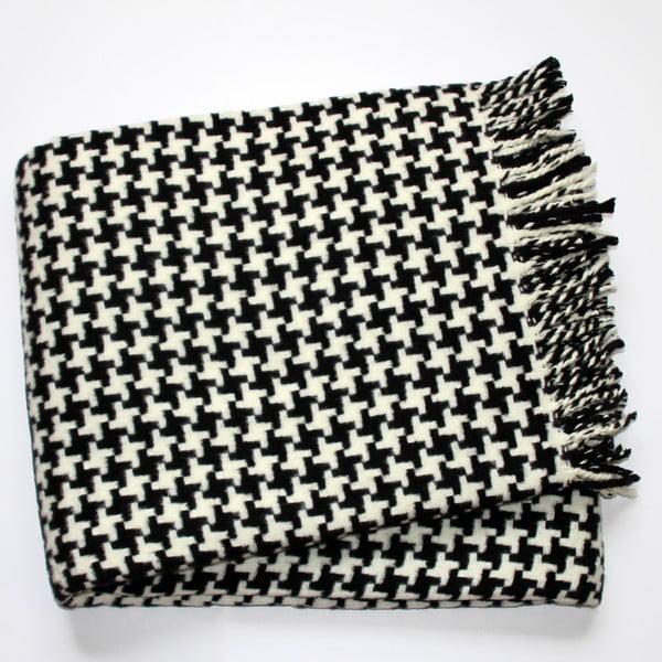 Čierny pléd s podielom bavlny Euromant Pearls, 140×180 cm