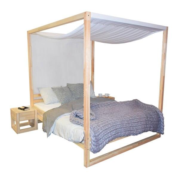 Drevená dvojlôžková posteľ Benlemi Baldee Naturelle, 200 × 160 cm