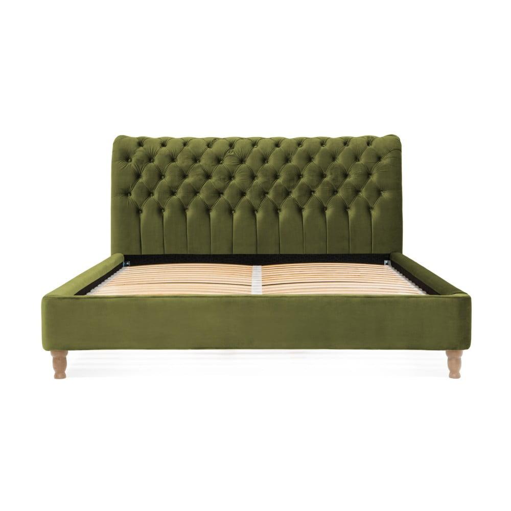 4602f68e72cb Olivovozelená posteľ z bukového dreva Vivonita Allon 180 × 200 cm