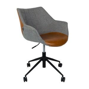 Sivá kancelárska stolička s hnedým detailom Zuiver Doulton