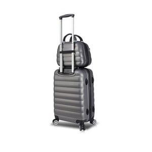Sada sivého cestovného kufra na kolieskach s USB portom a príručného kufríka My Valice RESSNO MU & M