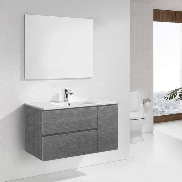 Kúpeľňová skrinka s umývadlom a zrkadlom Happy, odtieň sivej, 100 cm
