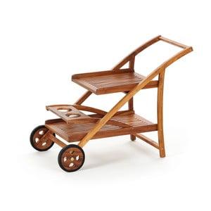 Teakový záhradný pojazdný vozík s podnosmi Carrello