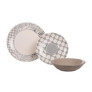 Sada 18 ks keramických tanierov Amelie Beige