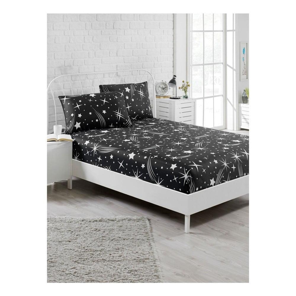Set čiernej elastickej plachty a obliečky na vankúš na jednolôžko Starry Night, 100 × 200 cm