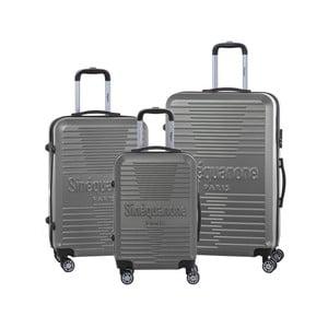 Sada 3 tmavosivých cestovných kufrov na kolieskách so zámkom SINEQUANONE