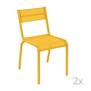 Sada 2 žltých kovových záhradných stoličiek Fermob Oléron