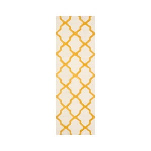 Vlnený koberec Ava White Orange, 76x243 cm
