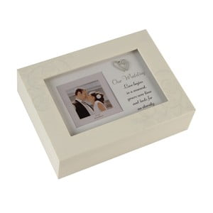 Hracia skrinka s rámikom na fotografiu Celebrations Ou Wedding, 8×8 cm