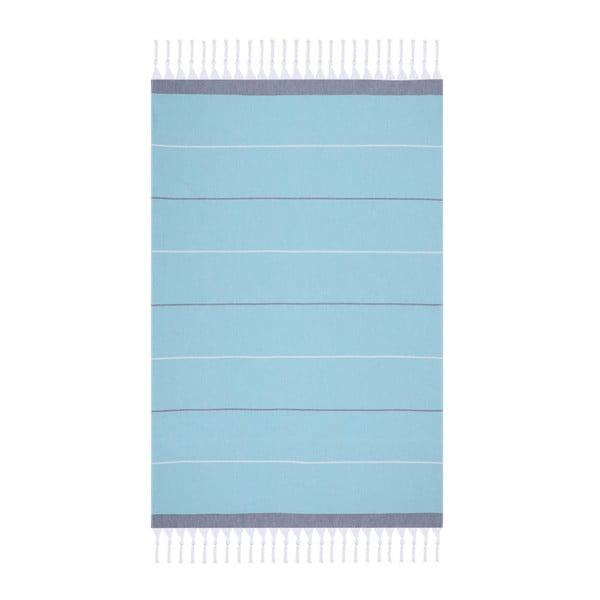 Modrá plážová osuška Fouta, 170 x 100 cm