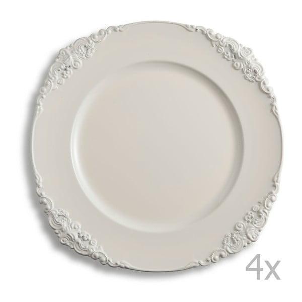 Sada štyroch krémových tanierov Brandani Elegance