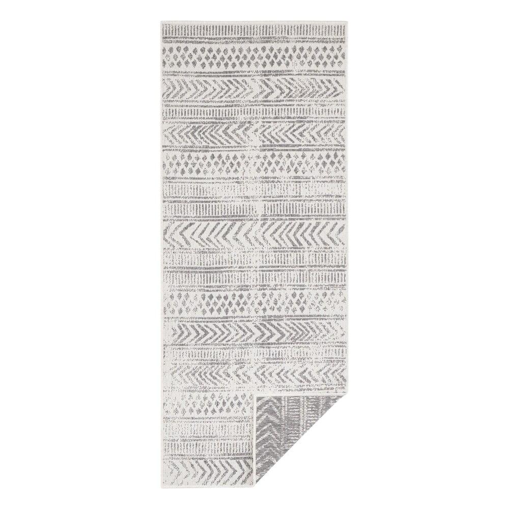 Sivo-krémový vonkajší koberec Bougari Biri, 80 x 350 cm