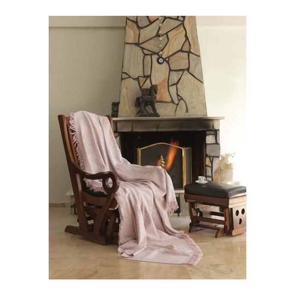 Ružová bavlnená deka Linen, 170 x 220 cm