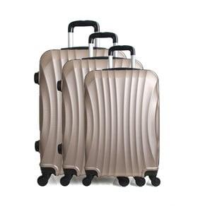 Sada 3 cestovných kufrov zlatej farby na kolieskach Hero Jackson