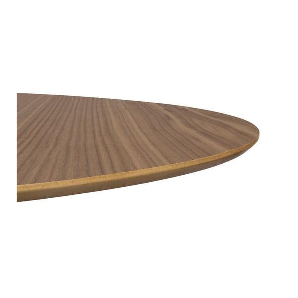 Jedálenský stôl v dekore orechového dreva s pochrómovanou podnožou TemaHome Row, Ø150cm