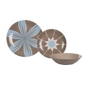 Sada 18 ks keramických tanierov Tribe Brown