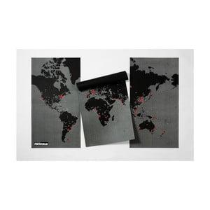Čierna nástenná mapa sveta Palomar Pin World XL, 198×124cm