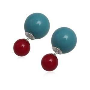 Náušnice Double Pearl Red and Blue